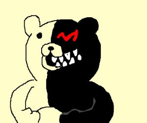 Black and white bear. M for left eye