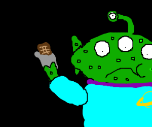 Green alien gets warts from eating choc