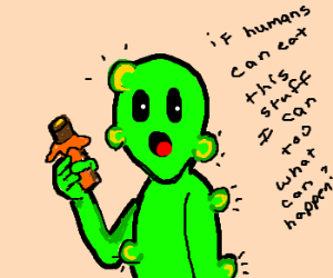 Alien allergic to chocolate; eats anyway