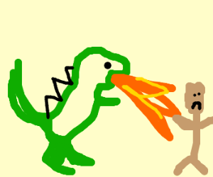 A dinosaur burning people