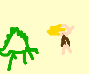 cavewoman is chased by a stegosaurus