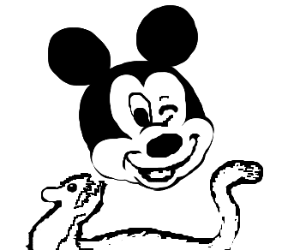 Weasels attack blackface Mickey Mouse