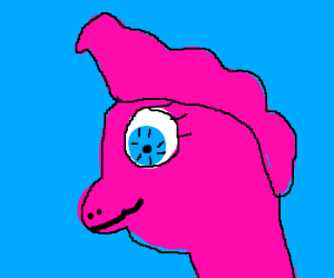 Pink dragon with toupee