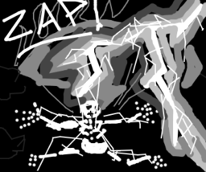 diving man gets struck by lightning