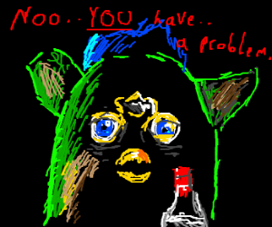 Green Furby with a drinking problem