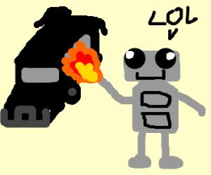 """Lol"" says a robot. ""I firing the hummer"
