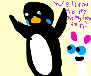 Pingu criying, he is adopted by a rabbit