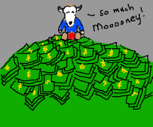 Cowboy sits atop a pile of cash.