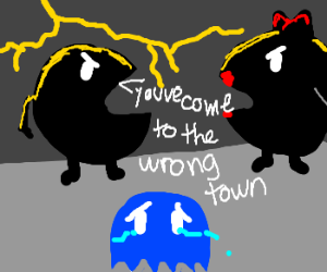 Inky gets trapped by Mr. and Mrs. Pacman