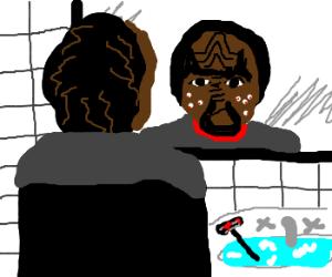 Worf cuts himself shaving