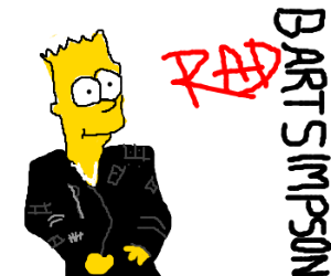 MJ's Bad album cover with Bart Simpson