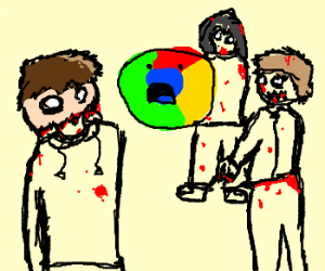 Zombies stare at Google's Chrome logo