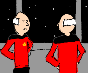 JL Picard Twin see's twin w/ his shirt