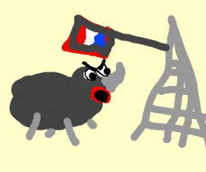 Angry rhino attacking eifeltower!