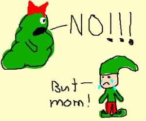 lady slimer yells no at elf son