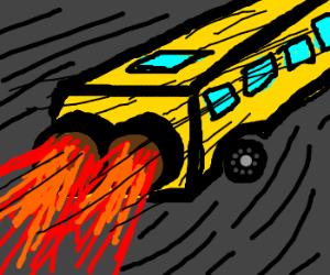School Bus Rockets to School, so fast