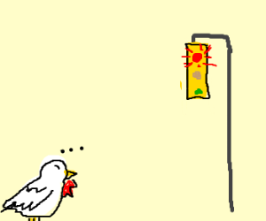 Chicken waiting for traffic light