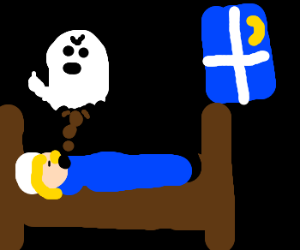 ghost poops in sleeping mans mouth