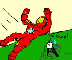 Iron Man falls into the unknown