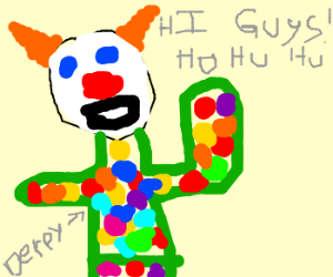 Derpy the Clown greets the audience