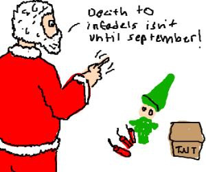 Santa scolds an elf for using explosives