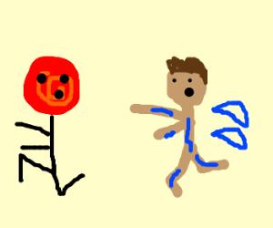 Lollipop runs away from sad wet man