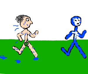 naked wet man chasing a luchador