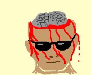 bold man bleeding from head