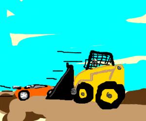 Fast car pushing bulldozer