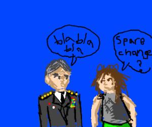 General Petraeus converses with hobo