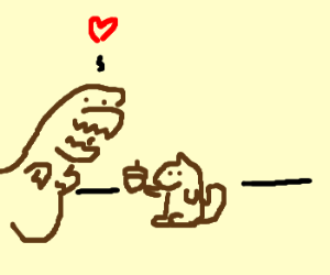 T-Rex Receives Acorn From A Squirrel