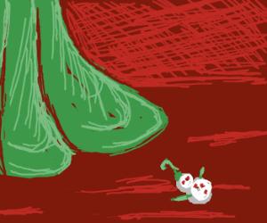 Miniature snowman at Grinches feet