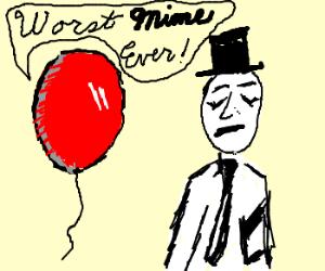 red balloon mocks mime