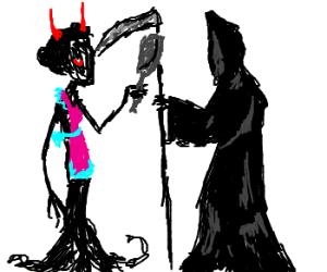 Demonic housewife vs the Grim Reaper.