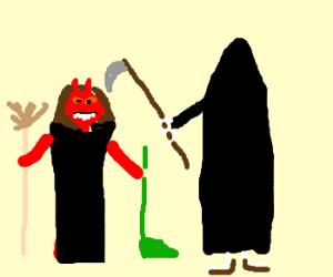 She-devil with dustpan meets Grim Reaper