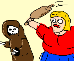 Fat woman tries to beat death