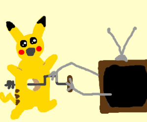 Pikachu bored by TV