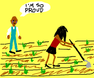 Indian agricultor is proud of his hoe