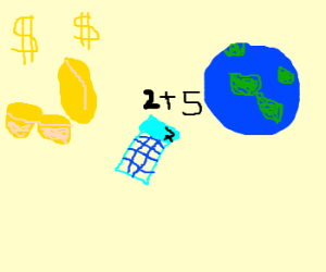 rich peanut calculates with the earth