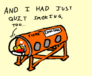 Iron Man in an iron lung.  How ironic.