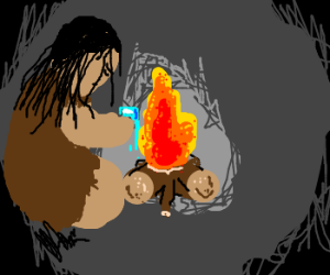 Caveman melts ice on fire