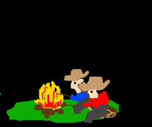 Two Cowboys At A Campfire