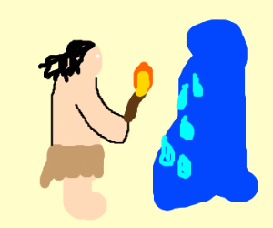 caveman melts ice