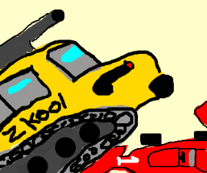 Schoolbus/tank hybrid pwns F1 car