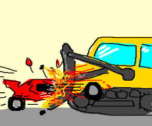 lamborgini drives into dozer, CRASH