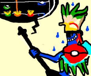 Aztec god of rain plays guitar hero