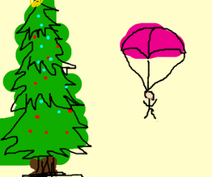 Parachute off of a Christmas Tree