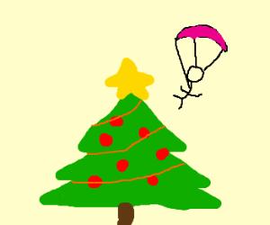 A tinyman parachutes to a christmas tree