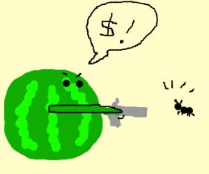 Watermelon threatens ant w/ gun