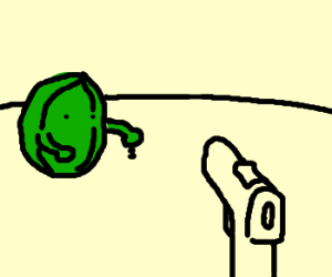 A watermellon holding an ant at gunpoint